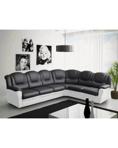 Vegas corner sofa Faux Leather Black and White