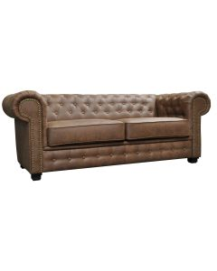 Astor 3 Seater Sofa Bed Faux Leather Brown