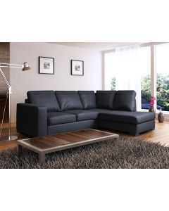 WESTPOINT Faux Leather Corner Sofa Black Right