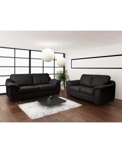 AMY Faux Leather Sofa Set-3+2 set-Black