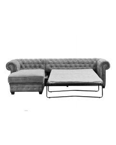 Chesterfield Velour Fabric Corner Sofa Bed Left Hand Side