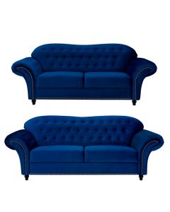 Beso Chesterfield Style 3+2 Seater Sofa Set Blue French Velvet Fabric -3+2 Set