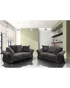 CAMDEN 3+2 Seater Sofa Set Black Grey Jumbo Cord Fabric