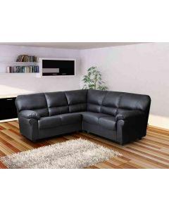 CANDY Faux Leather Corner Sofa Black