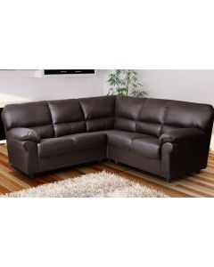 CANDY Faux Leather Corner Sofa Brown