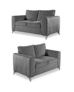 Caro 3+2 Seater Sofa Set Grey Fabric -3+2 Set