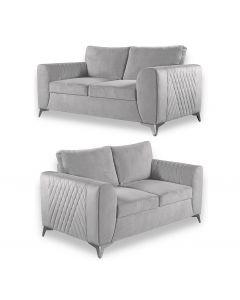 Caro 3+2 Seater Sofa Set Light Grey Fabric -3+2 Set