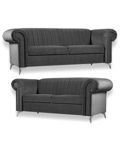 Cherry 3+2 Seater Sofa Set Grey Fabric -3+2 Set