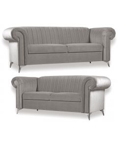 Cherry 3+2 Seater Sofa Set Light Grey Fabric -3+2 Set