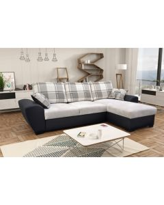 Alabama Corner Sofa Bed Black/L Grey