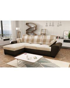 Alabama Corner Sofa Bed Brown/Cream