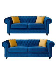 Hilton Chesterfield Style 3+2 Seater Sofa Set Blue French Velvet Fabric
