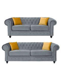 Hilton Chesterfield Style 3+2 Seater Sofa Set Grey French Velvet Fabric