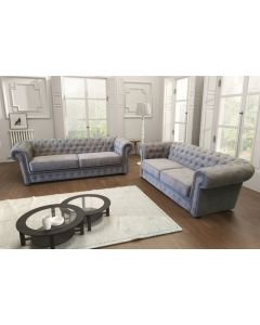 Chesterfield Style Sofa Venus 3+2 Seater Velour Fabric