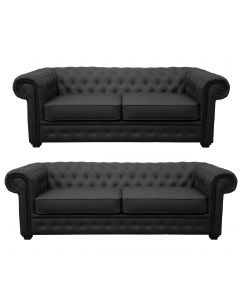 Venus Sofa 3 Seater 2 Seater Armchair Black Faux Leather