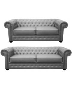 Venus Sofa 3 Seater 2 Seater Armchair Grey Faux Leather