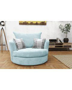 Joy Swivel Cuddle Chair Velour  Fabric Light Blue