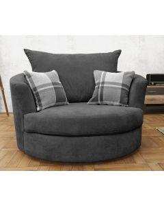 Joy Swivel Cuddle Chair Velour Fabric Grey