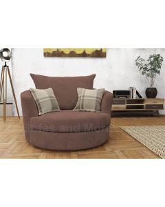 Joy Swivel Cuddle Chair Velour Fabric Brown