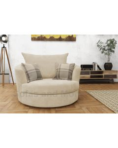 Joy Swivel Cuddle Chair Velour Fabric Cream