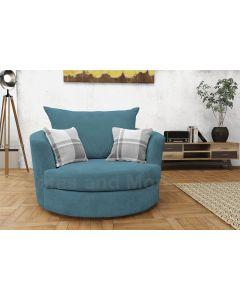 Joy Swivel Cuddle Chair Velour Fabric Teal Ocean