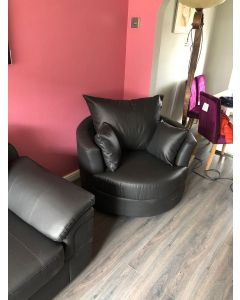 Joy Swivel Cuddle Chair Black Faux Leather