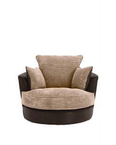 Joy Swivel Cuddle Chair Brown Fabric Jumbo Cord Leather