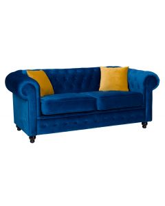 Hilton Chesterfield Style 2 Seater Sofa Bed Blue Grey Silver French Velvet Fabric