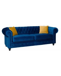 Hilton Chesterfield Style 3 Seater Sofa Bed Blue Grey Silver French Velvet Fabric