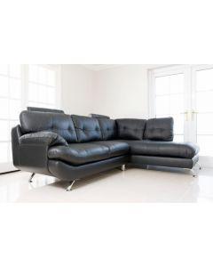 SANDY Faux Leather Corner Sofa Black Right