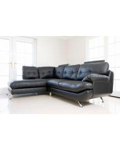 SANDY Faux Leather Corner Sofa Black Left