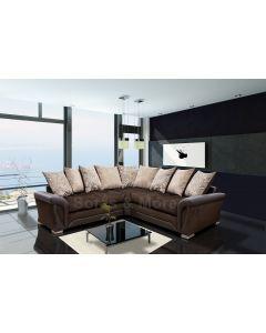 Shannon Fabric Corner Sofa Faux Leather Brown