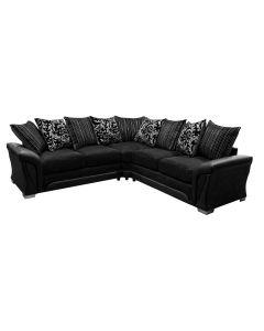 Shannon Fabric Corner Sofa Faux Leather Black/Black