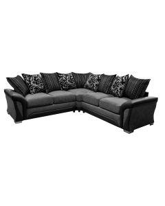 Shannon Fabric Corner Sofa Faux Leather Black/Grey