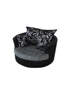 Joy Swivel Cuddle Chair Black Grey Silver Chenille - Leather