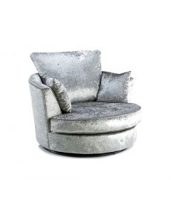 Joy Swivel Cuddle Chair Silver Fabric Crushed Velvet