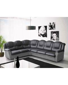 Vegas corner sofa Faux Leather Black and Grey