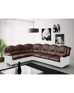 TEXAS corner sofa Faux Leather Brown and Cream Left Or Right