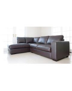 WESTPOINT Faux Leather Corner Sofa Brown Left