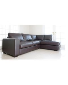 WESTPOINT Faux Leather Corner Sofa Brown Right