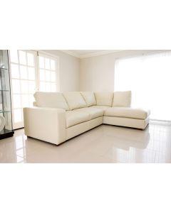 WESTPOINT Faux Leather Corner Sofa Cream Right