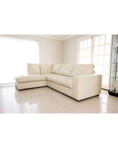 WESTPOINT Faux Leather Corner Sofa Cream Left