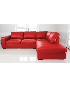 WESTPOINT Faux Leather Corner Sofa Red Right